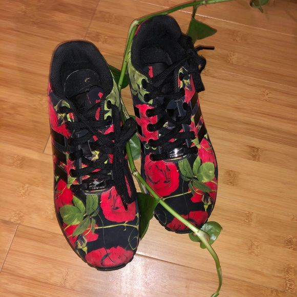 adidas rose print trainers